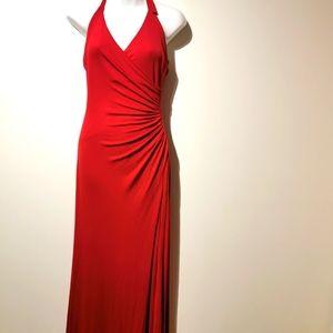 BCBG red halter neck maxi dress small